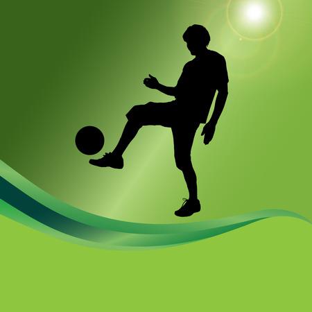 futsal: Vector silhouette of a man who plays football. Illustration