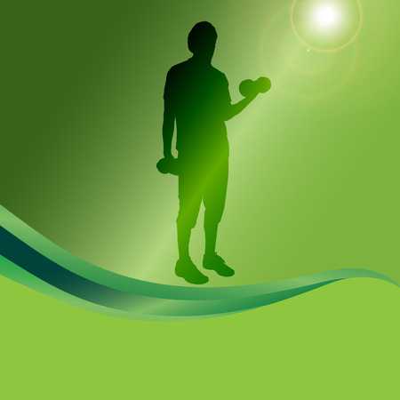 Vector silhouette of a man who practice on a green background.