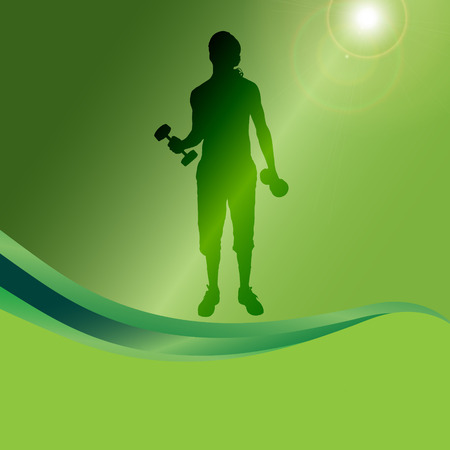 strengthening: Vector silhouette of a man who practice on a green background.