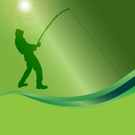 fisher man: Vector silhouette of a man who fishes on a green background.