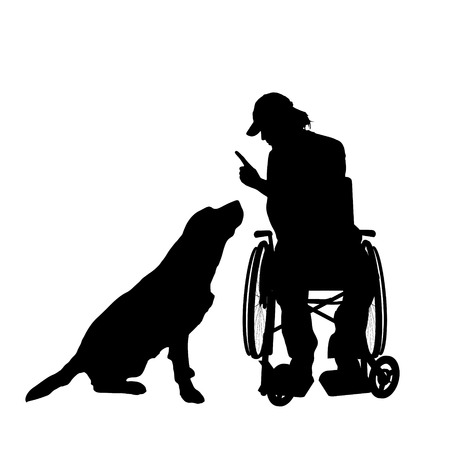 Vector silhouettes man who is in a wheelchair with a dog. Vector