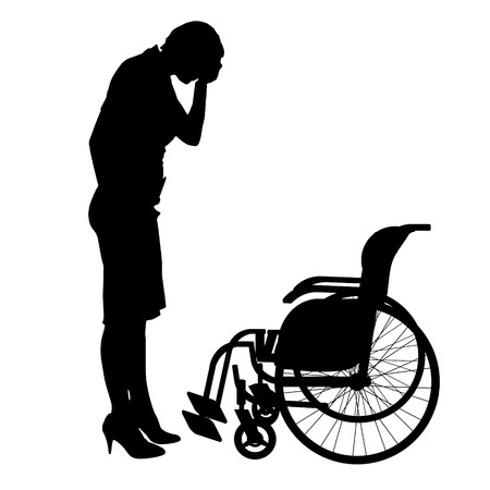 handicapped person: Vector silhouette of a woman crying at the wheelchair.