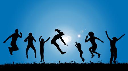 persone che ballano: Vector sagome di persone in campagna.