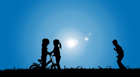 siblings: Vector silhouette of a siblings who play on the meadow. Illustration