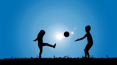 Vector silhouette of a siblings who play on the meadow. Vector