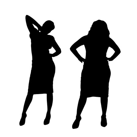 change size: Vector silhouette of a couple on a white background.