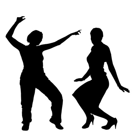 big size: Vector silhouette of a couple on a white background.