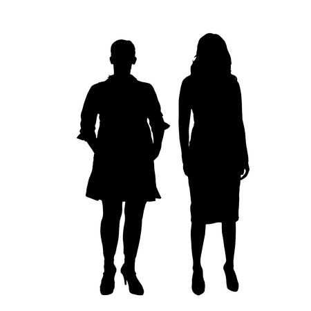 fit woman: Vector silhouette of a couple on a white background.