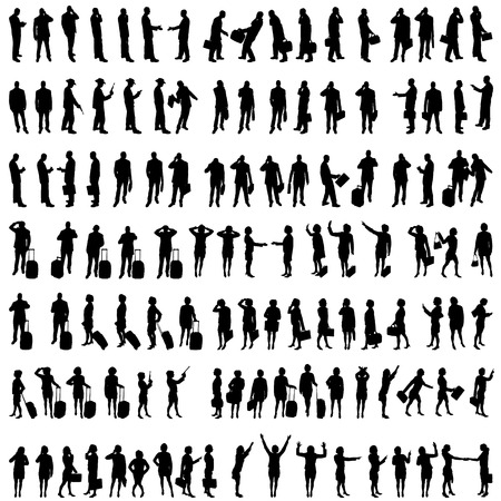Vector silhouettes of people in set on a white background. Vector