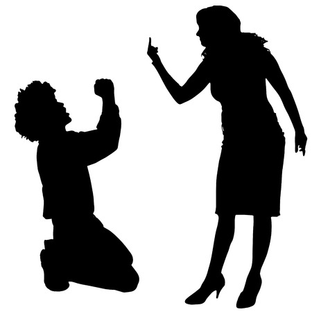 boys girls: Vector silhouette of couple who argues on a white background.