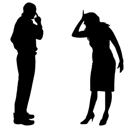 sexy young couple: Vector silhouette of couple who argues on a white background.