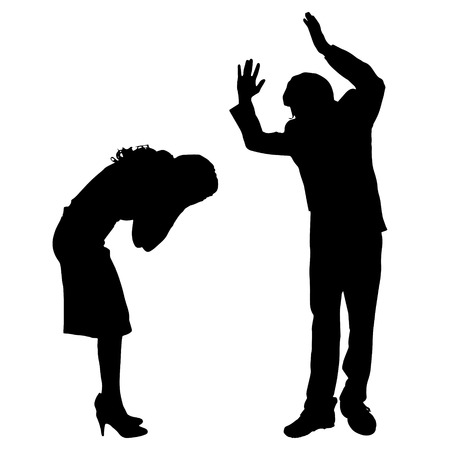 Vector silhouette of couple who argues on a white background.