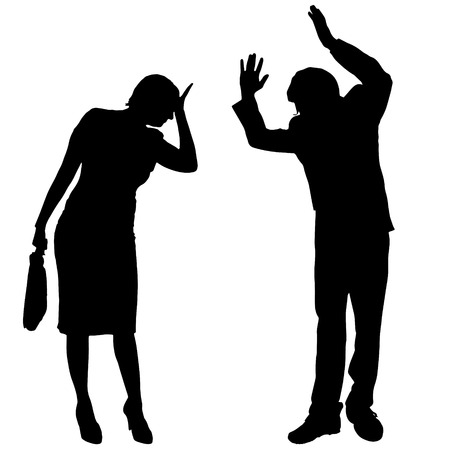 argues: Vector silhouette of couple who argues on a white background.