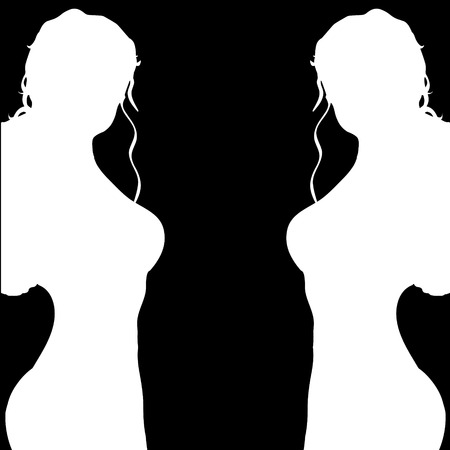 black woman: Vector silhouette of a woman on a black background. Illustration