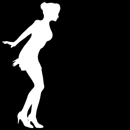 nameless: Vector silhouette of a woman on a black background. Illustration