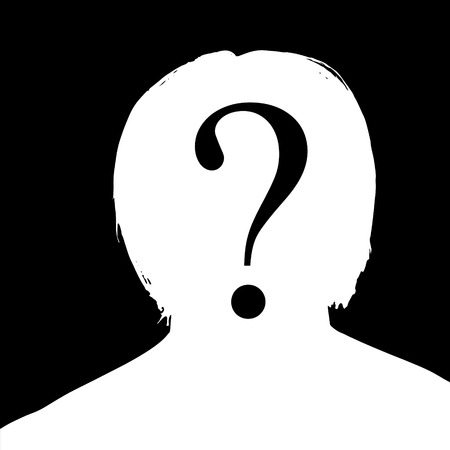 nameless: Vector silhouette of a man in profile on a black background.