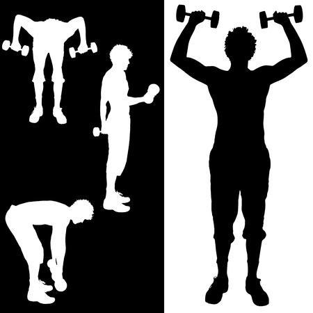 fortalecimiento: Vector silueta de un hombre que lo practican.