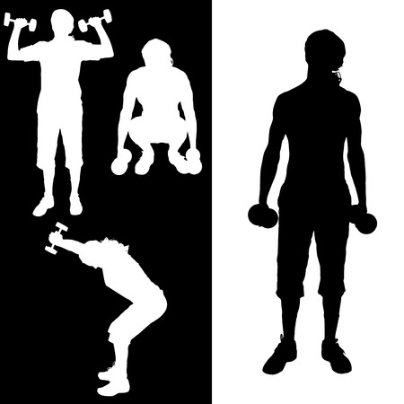 practice: Vector silhouette of a man who practice.