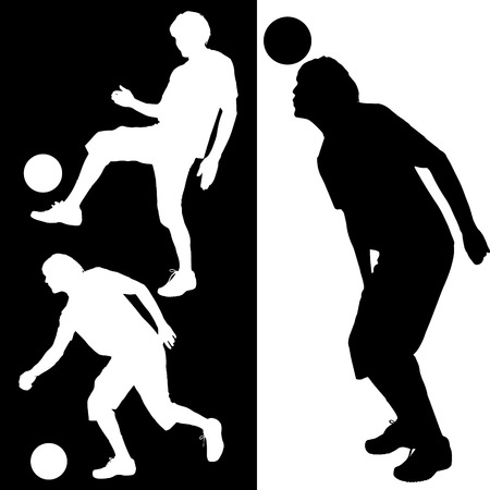Vector silhouette of a man who plays football. Vector