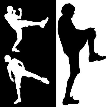практика: Вектор силуэт человека, который практикуют.