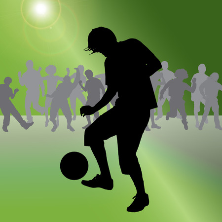 teammates: Vector silhouette of a man who plays football. Illustration