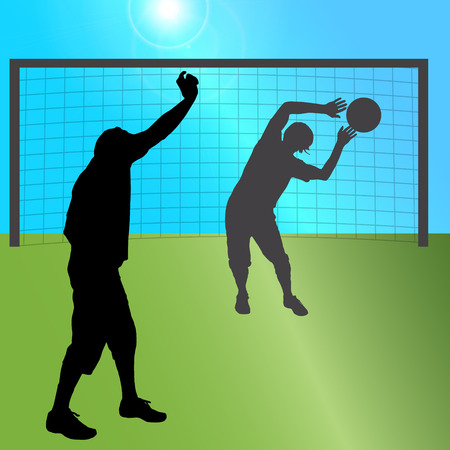 teammates: Vector silhouette of a men who plays football. Illustration