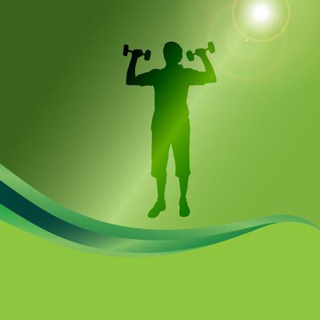 fortalecimiento: Vector silueta de un hombre que practican en un fondo verde.