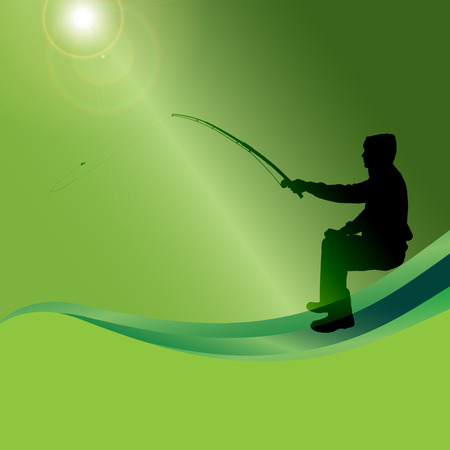 Vector silhouette of a man who fishes on a green background. Vector