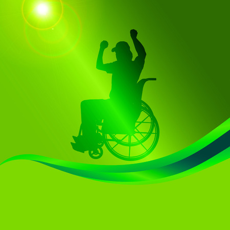 Vector silhouette of a man in a wheelchair on a green background. Vector