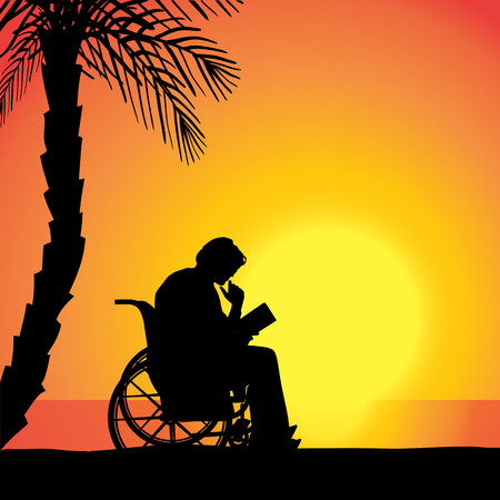 palm reading: Vector silhouette of man who is in wheelchairs.