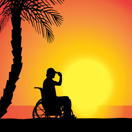 Vector silhouette of man who is in wheelchairs. Vector