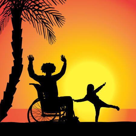 Vector silhouette of family who are in wheelchairs. Vector