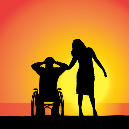 Vector silhouette of people who are in wheelchairs. Vector