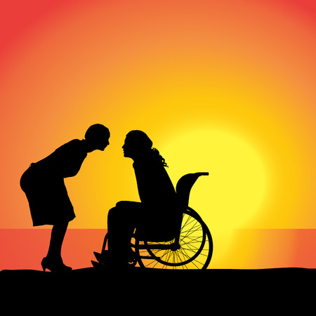 Vector silhouette of people who are in wheelchairs. Illustration