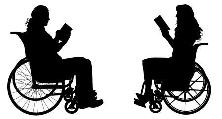 Vector silhouette of people who are in wheelchairs. Vettoriali