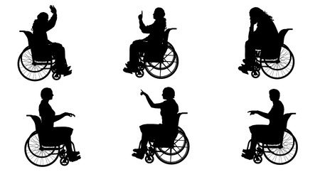 hopelessness: Vector silhouette of people who are in wheelchairs. Illustration
