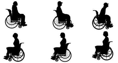 wheelchair: Vector silhouette of people who are in wheelchairs. Illustration