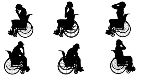 hopeless: Vector silhouette of people who are in wheelchairs. Illustration