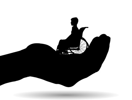 Vector silhouette of a boy on palm on white background. Stock Illustratie