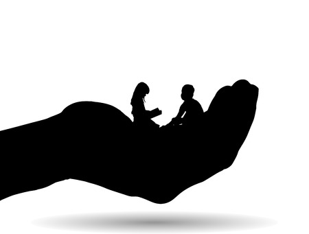 palm reading: Vector silhouette of a siblings on palm on white background.