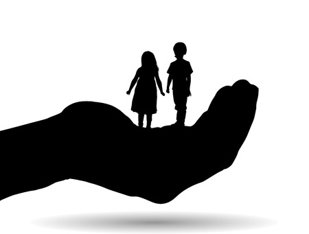 siblings: Vector silhouette of a siblings on palm on white background.