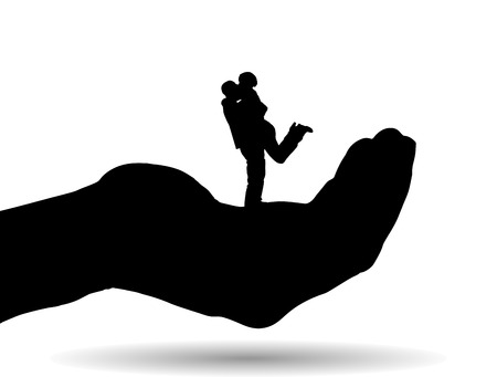 Vector silhouette of couple on palm on white background. Vector