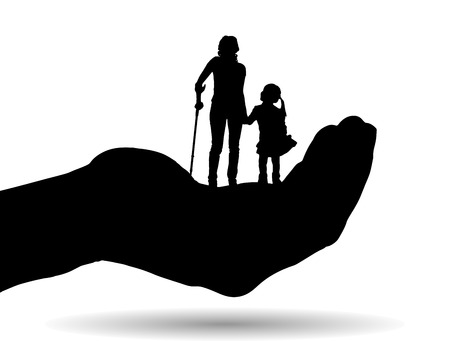 Vector silhouette of a family on palm on white background. Vector