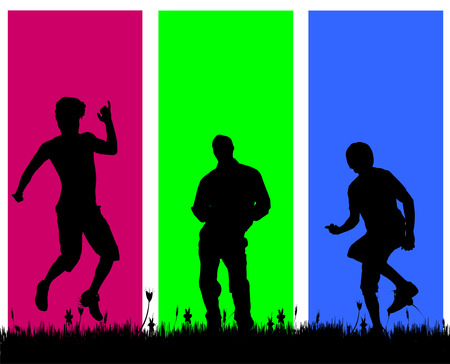 adult man: Vector silhouettes of men who dance on a colored background.