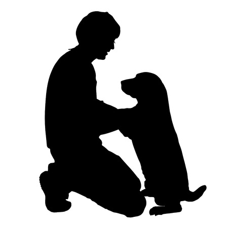 dog outline: Vector silhouette of a man with a dog on a white background.