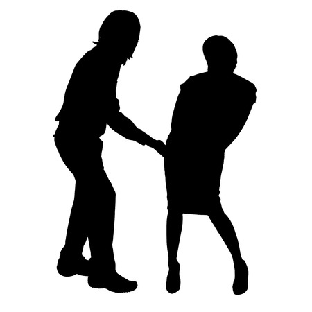striptease: Vector silhouette of a couple on a white background.