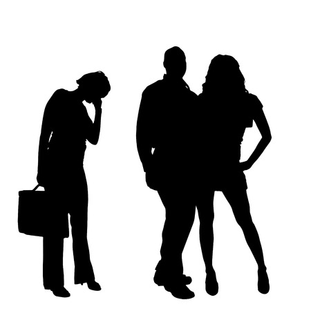 lovelorn: Vector silhouette of a couple on a white background.