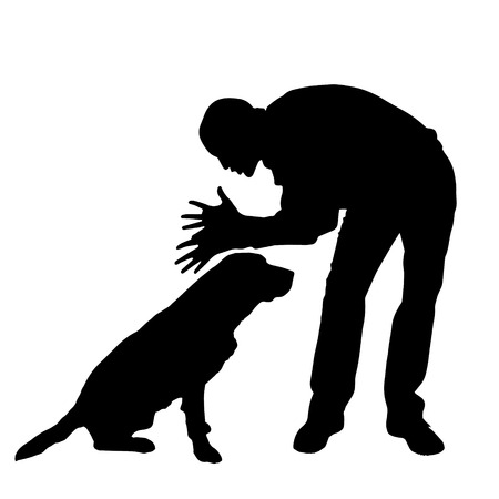 ire: Vector silhouette of a man with a dog on a white background.