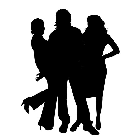 Vector silhouette of a people on a white background. Illustration
