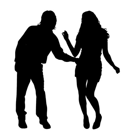 companions: Vector silhouette of a couple on a white background.